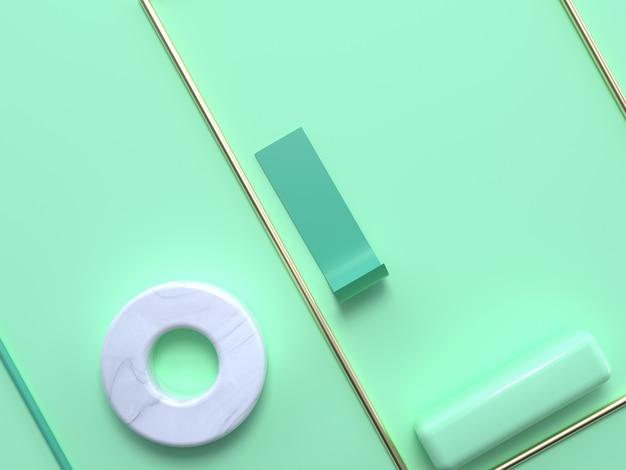 フラット横たわっていたソフトグリーンパステルシーン抽象的な幾何学的形状金白い大理石3 dレンダリング円正方形フレーム