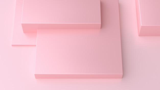 正方形のオーバーラップフラットフロアピンクすべて抽象的な最小限のピンク3 dレンダリング