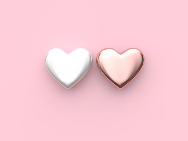 白ピンクメタリックハートバレンタイン3 dレンダリングピンク