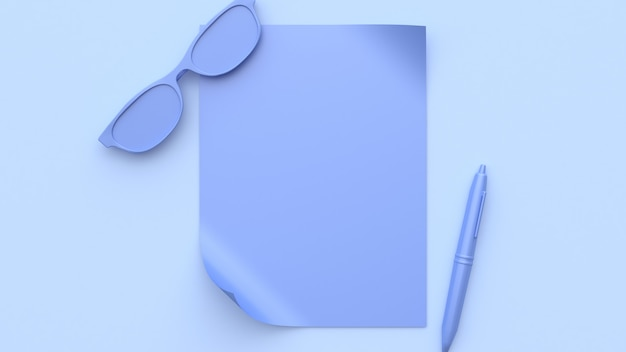 抽象的な紫紫シーンすべてのオブジェクト空白の紙メガネペン3 dレンダリング