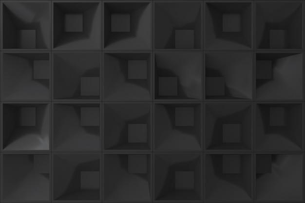 背景の黒の3 d壁正方形。