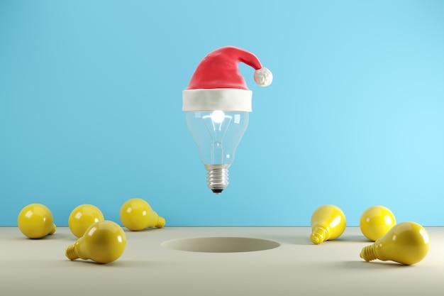 青色の背景、クリスマスコンセプトのアイデア、3 dイラストレーションに浮かぶサンタ帽子の電球。