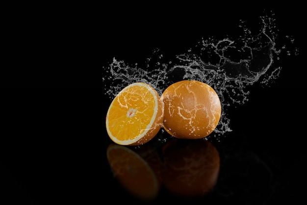 オレンジと水のスプラッシュ黒背景3 dレンダリング
