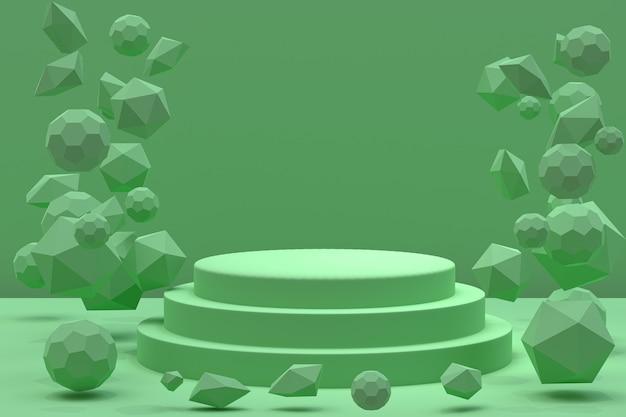 3 dレンダリング、化粧品のプレゼンテーション、抽象的な幾何学的形状の表彰台最小限の抽象的な背景