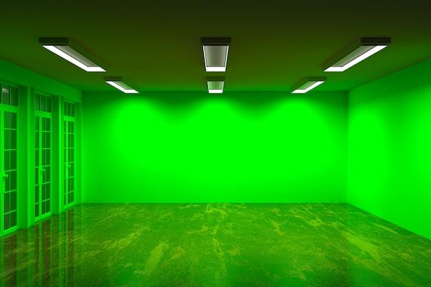 空の緑の部屋の大理石の床と美しい光、3 dレンダリングの複数の壁の色