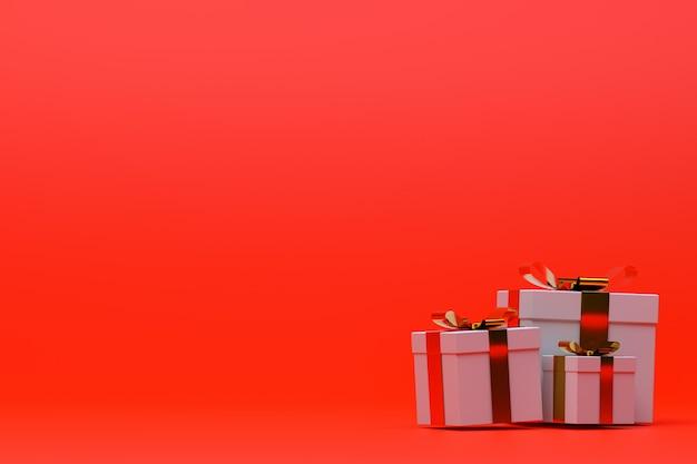 3 dレンダリング、カラフルな弓と赤い背景のカラフルな現実的なギフトボックス