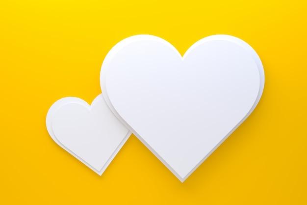 心で3 dレンダリングの黄色の背景