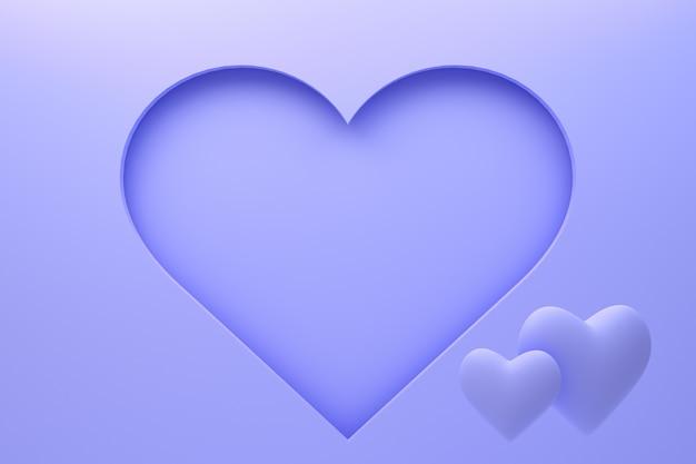心で3 dレンダリングの紫色の背景