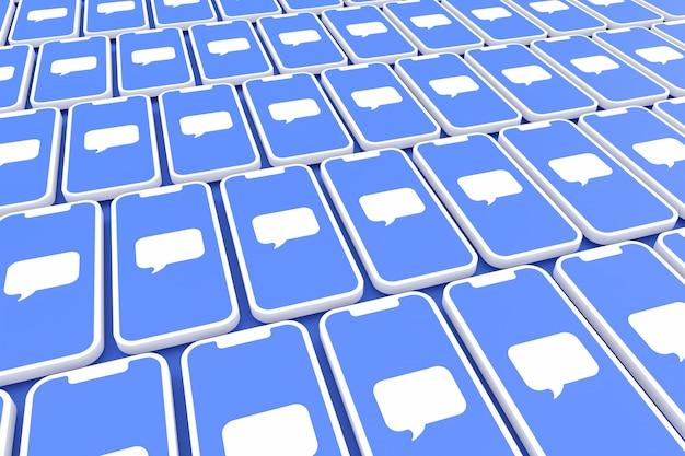 画面のスマートフォンやモバイルの3 dレンダリングにコメントソーシャルメディアシンボル