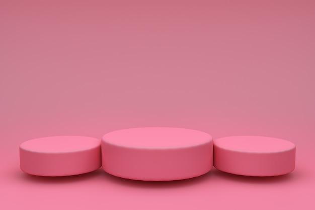 3 dの抽象的なレンダリング。製品展示用のピンクのプラットフォーム。インテリアの表彰台。の空白の装飾テンプレート。