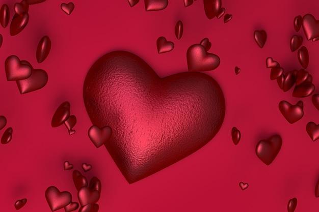 バレンタインデー、愛の日に赤いハートに赤の背景に3 dレンダリング赤いハート