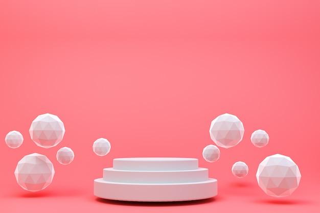 3 dレンダリング、化粧品プレゼンテーション、抽象的な幾何学的形状の白い表彰台最小限の抽象的な赤い背景
