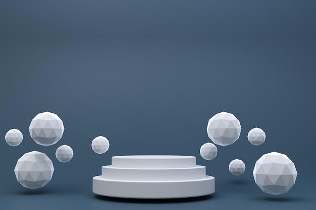 3 dレンダリング、化粧品プレゼンテーション、抽象的な幾何学的形状の白い表彰台最小限の抽象的な黒背景