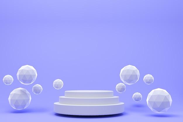 3 dレンダリング、化粧品プレゼンテーション、抽象的な幾何学的形状の白い表彰台最小限の抽象的な紫色の背景