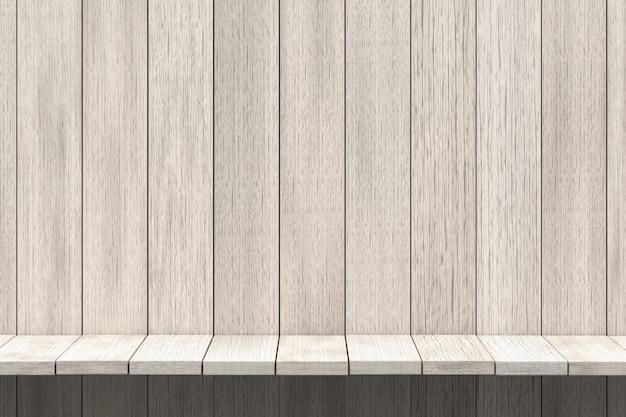 3 dレンダリング、製品ディスプレイ、白いウッドテクスチャ背景の白い棚木製テーブル背景
