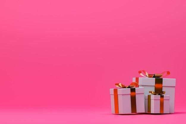 3 dレンダリング、カラフルな弓とピンクの背景カラフルな現実的なギフトボックス