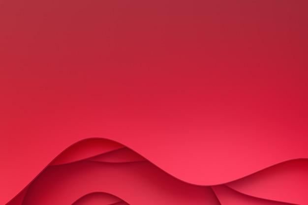 3 dレンダリング、抽象的な赤い紙はウェブサイトテンプレートまたはプレゼンテーションテンプレート、赤い背景、バレンタインデーの背景のアート背景デザインをカット