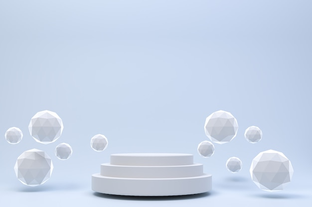 3 dレンダリング、化粧品プレゼンテーション、抽象的な幾何学的形状の白い表彰台最小限の抽象的な灰色の背景