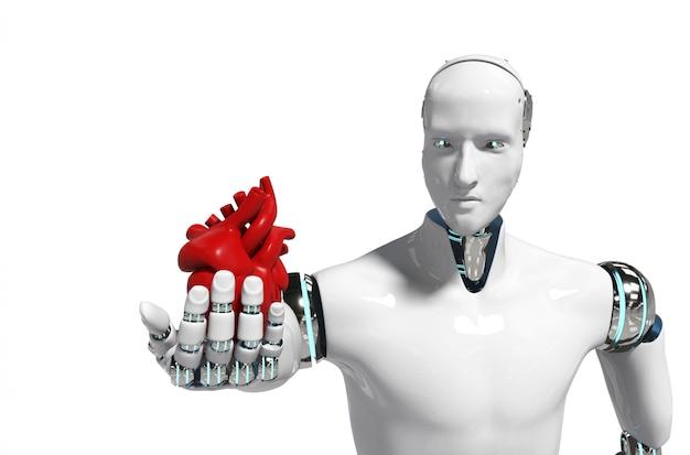 医療用ロボットコンセプトロボット使用医療用白背景3 dレンダリング