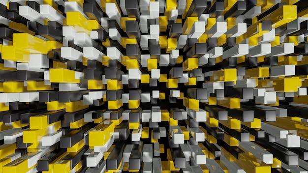 フルカラーの正方形押し出し抽象3 d都市景観