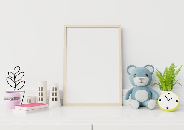 子供部屋のインテリア、3 dレンダリングでポスターをモックアップ
