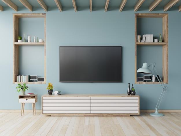 水色の壁の背景、3 dレンダリングにモダンなリビングルームのキャビネットのテレビ