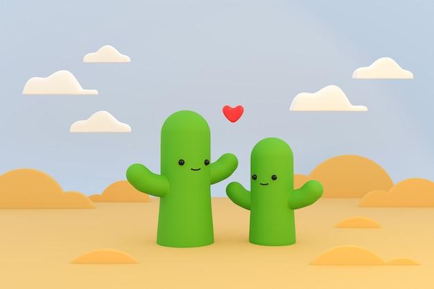 背景の風景、3 dイラストレーションモデルに雲と砂漠のサボテンの漫画のキャラクター。
