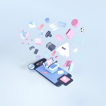 オンラインショッピング。ウェブサイトまたはモバイルアプリケーションのオンラインストア。 3 dレンダリングの背景。デジタルマーケティングショップ