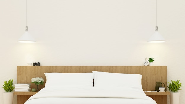 木製のデザイン -  3 dレンダリングの寝室