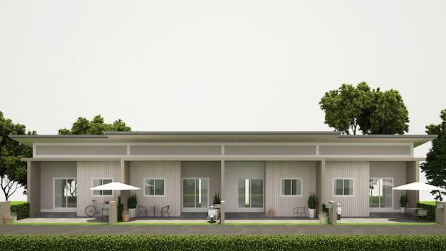 不動産 -  3 dレンダリングの正面図タウンハウスデザイン