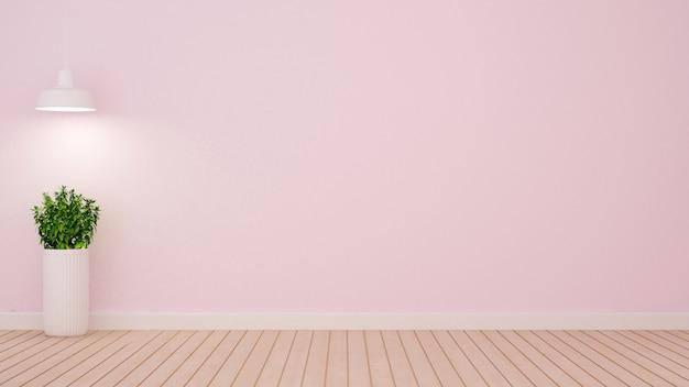 淡いピンクのトーン -  3 dレンの空の部屋で植物とペンダントランプ