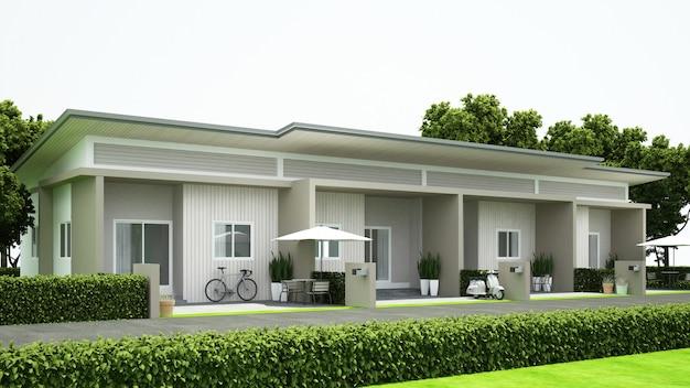 不動産 -  3 dレンダリングのタウンハウスデザイン