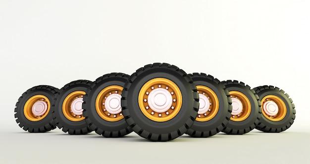 白い車の車輪に分離された車のタイヤの3 dレンダリングを設定します。