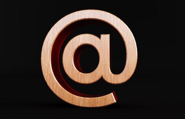 黒の背景に分離された木製のアットマークの3 dレンダリング。アロベース