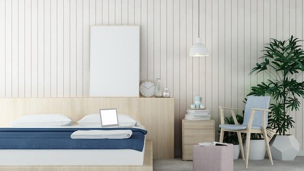 インテリアの最小限のホテルの寝室の3 dレンダリング
