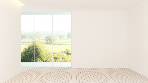 インテリアホテルの空スペース3 dレンダリング - 自然景観の背景