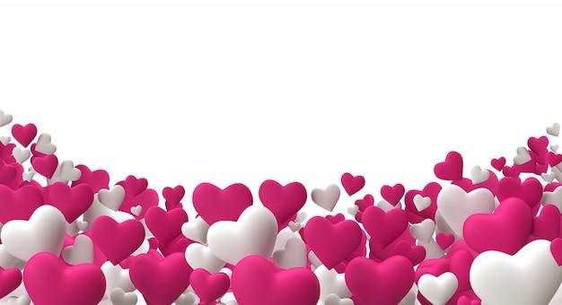リアルな3 dレンダリングカラフルなピンクと白のロマンチックなバレンタインハート背景