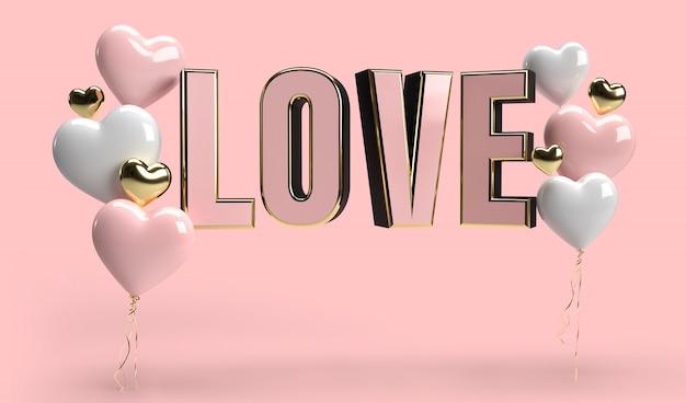 3 dの心と愛のテキストレンダリングで幸せなバレンタインデーのロマンスグリーティングカード。