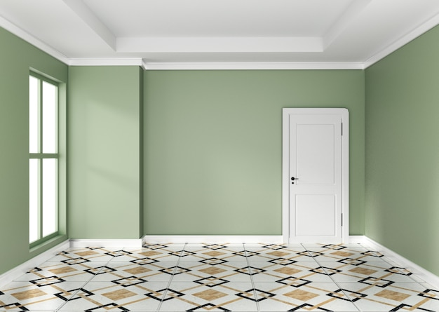空の緑の部屋のインテリアデザイン3 dレンダリング