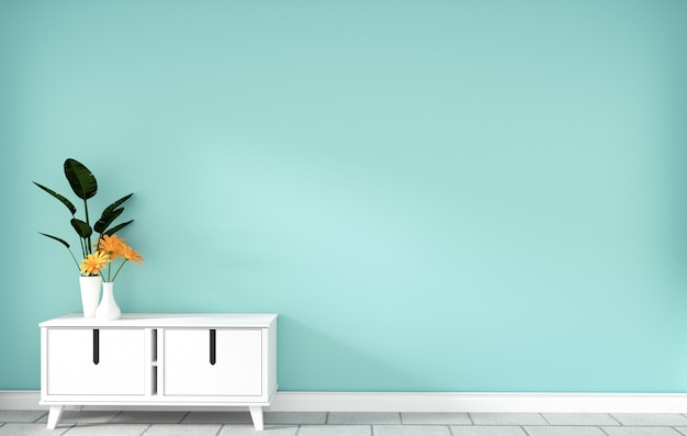 モダンなミントの空の部屋、最小限のデザイン、3 dレンダリングのテーブルキャビネット