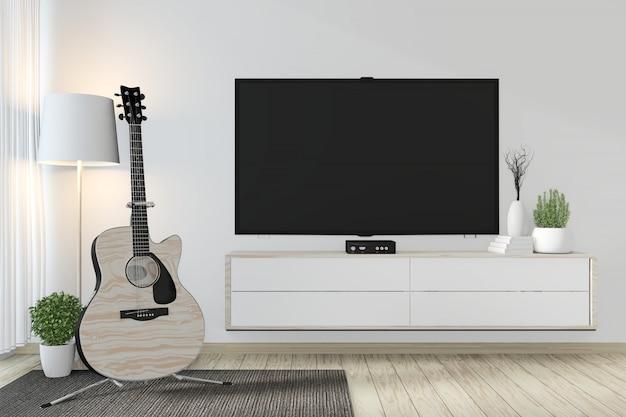 キャビネットと装飾禅部屋和風の壁にスマートテレビ3 dレンダリング