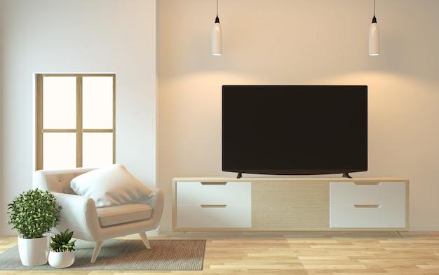 禅モダンな空部屋日本のミニマルなデザイン、3 dレンダリングでテレビキャビネットのモックアップします。