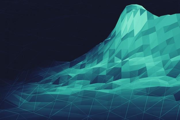 デジタルビッグデータ情報山の未来的な低ポリ幾何学風景3 dイラストレーション