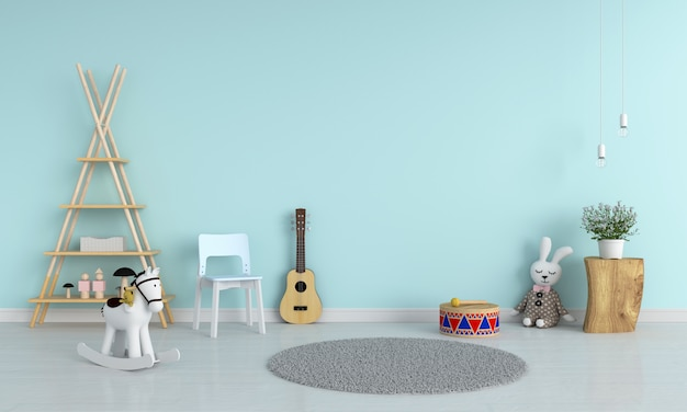 青い椅子とモックアップ、3 dレンダリングのための子供部屋でギター