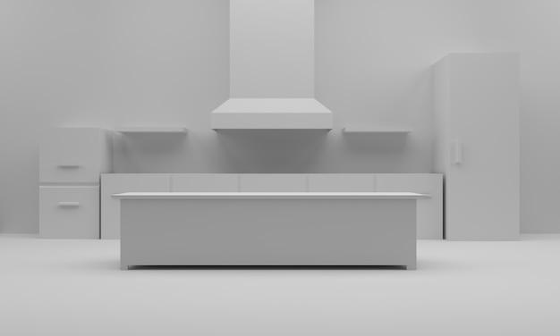 白いキッチンの3 dレンダリング