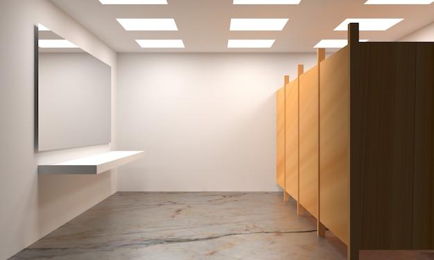 大理石のタイル、3 dレンダリングの公衆トイレのデザイン
