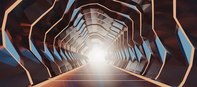 3 dレンダリング照明付き廊下抽象未来スペーストンネル。