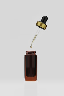3 dレンダリングエッセンシャルオイルの血清と白のボトルに落ちる