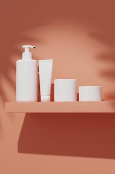 3 dレンダリングは、太陽の下で壁に置くスキンケアのための化粧品の束を模擬します。