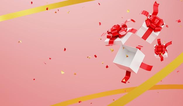 3 dレンダリングは、ギフトボックスとリボンの背景を開きます。クリスマスと新年あけましておめでとうございますお祝い。